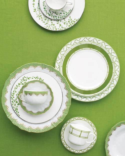 Green and White China