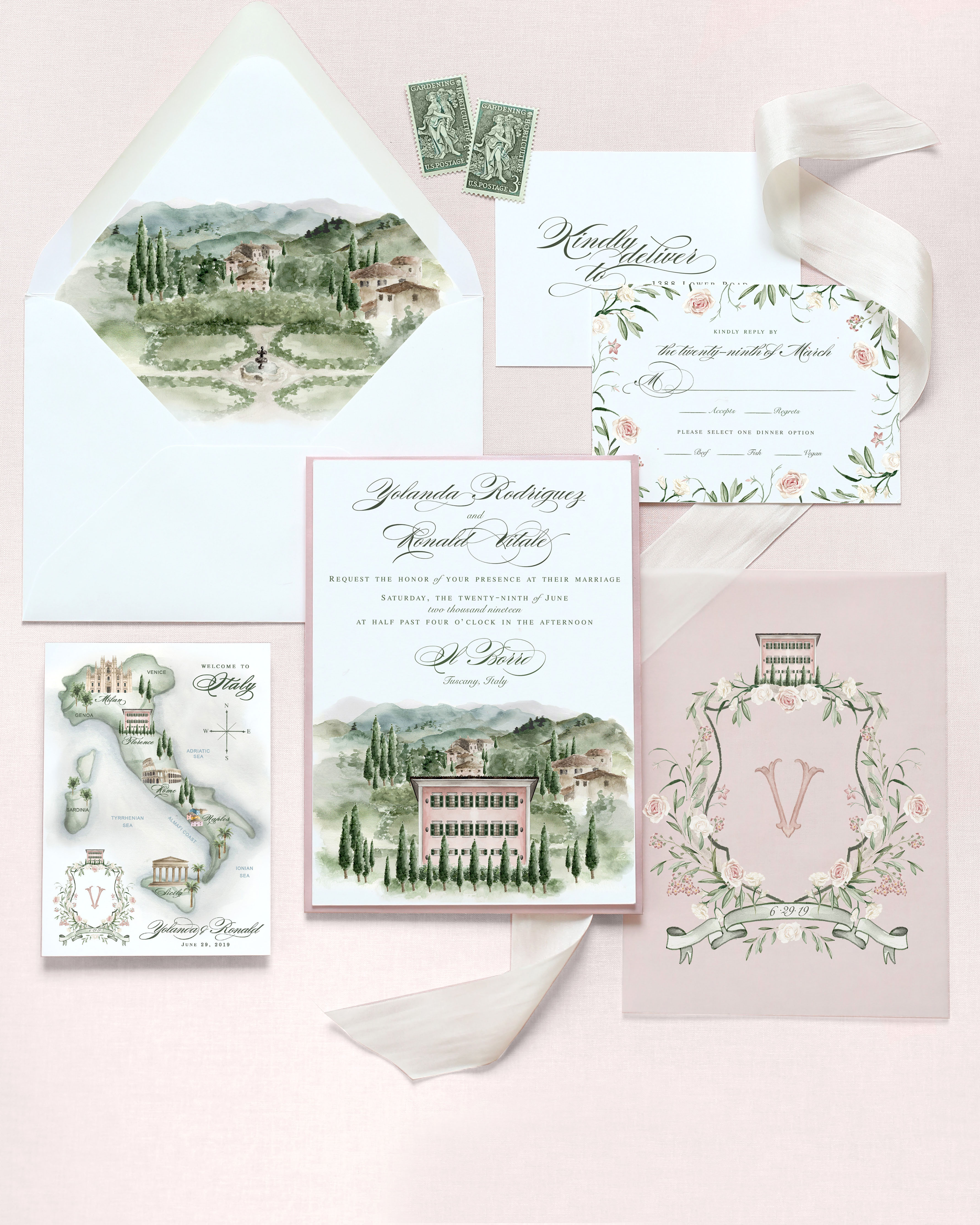 destination inspired wedding invitations painting