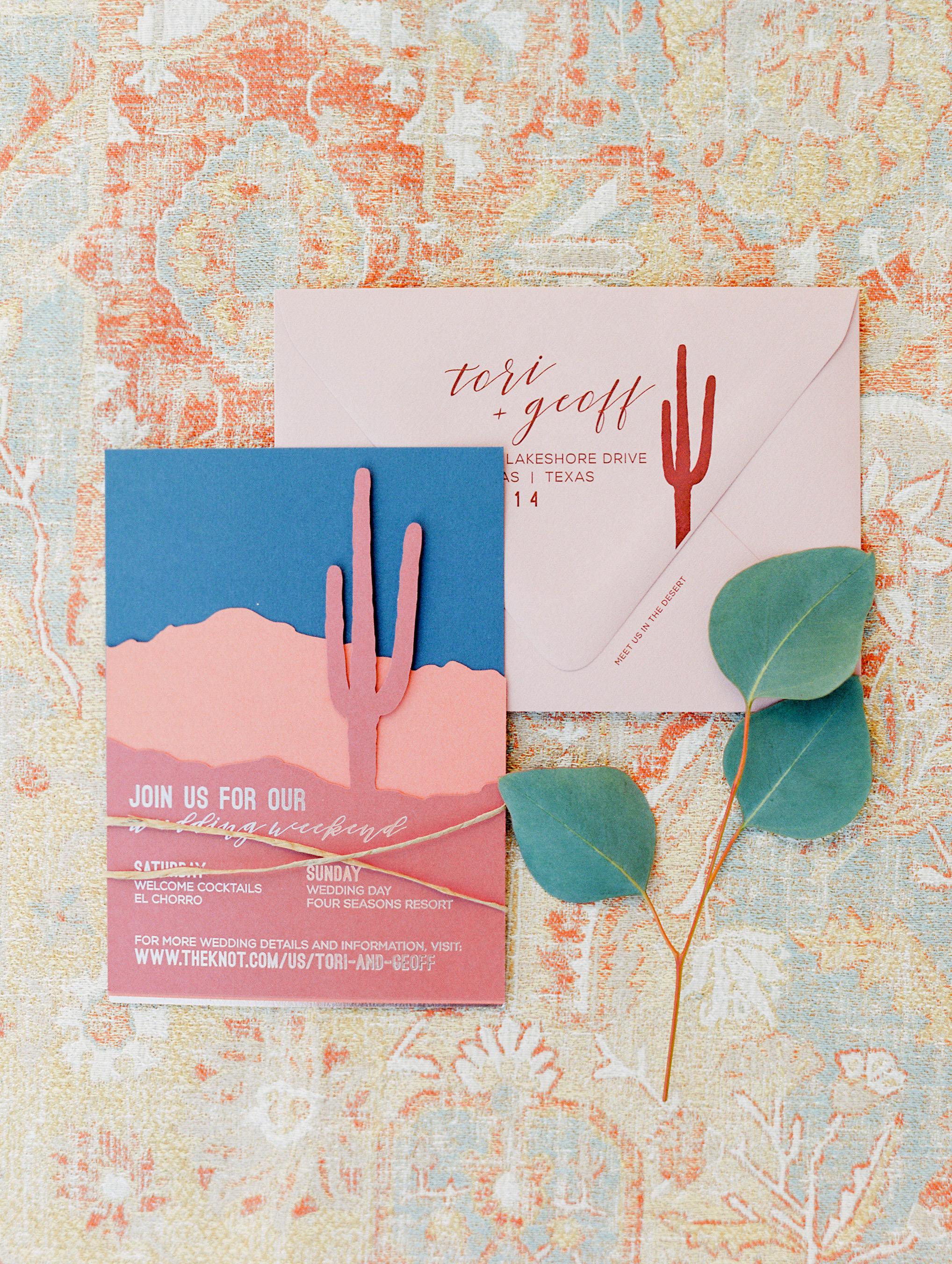 destination inspired wedding invitations desert symbolic clue