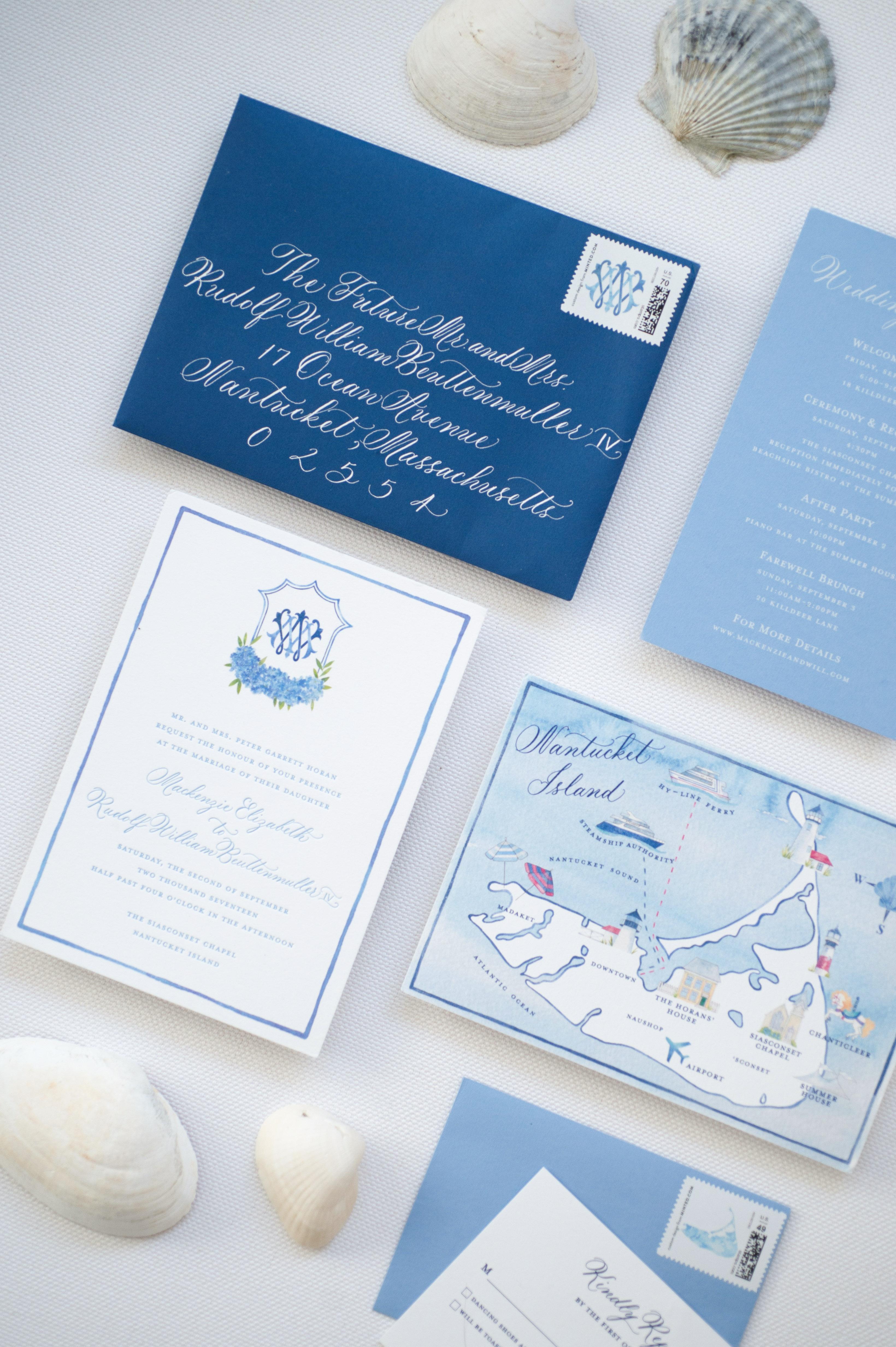 destination inspired wedding invitations blue map