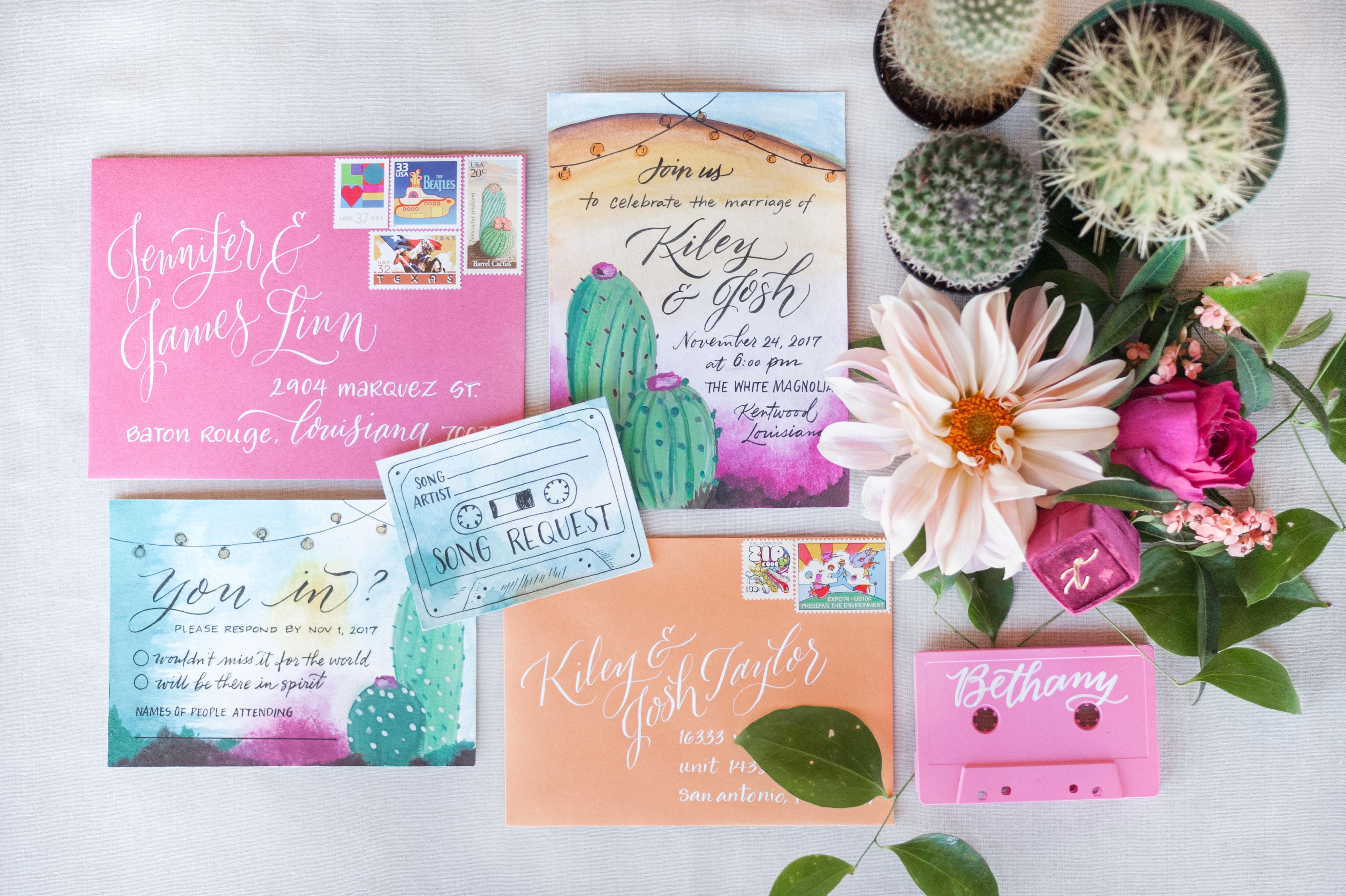 destination inspired wedding invitations desert greenery