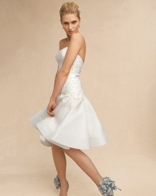 Short Wedding Dress with Floral Shoes