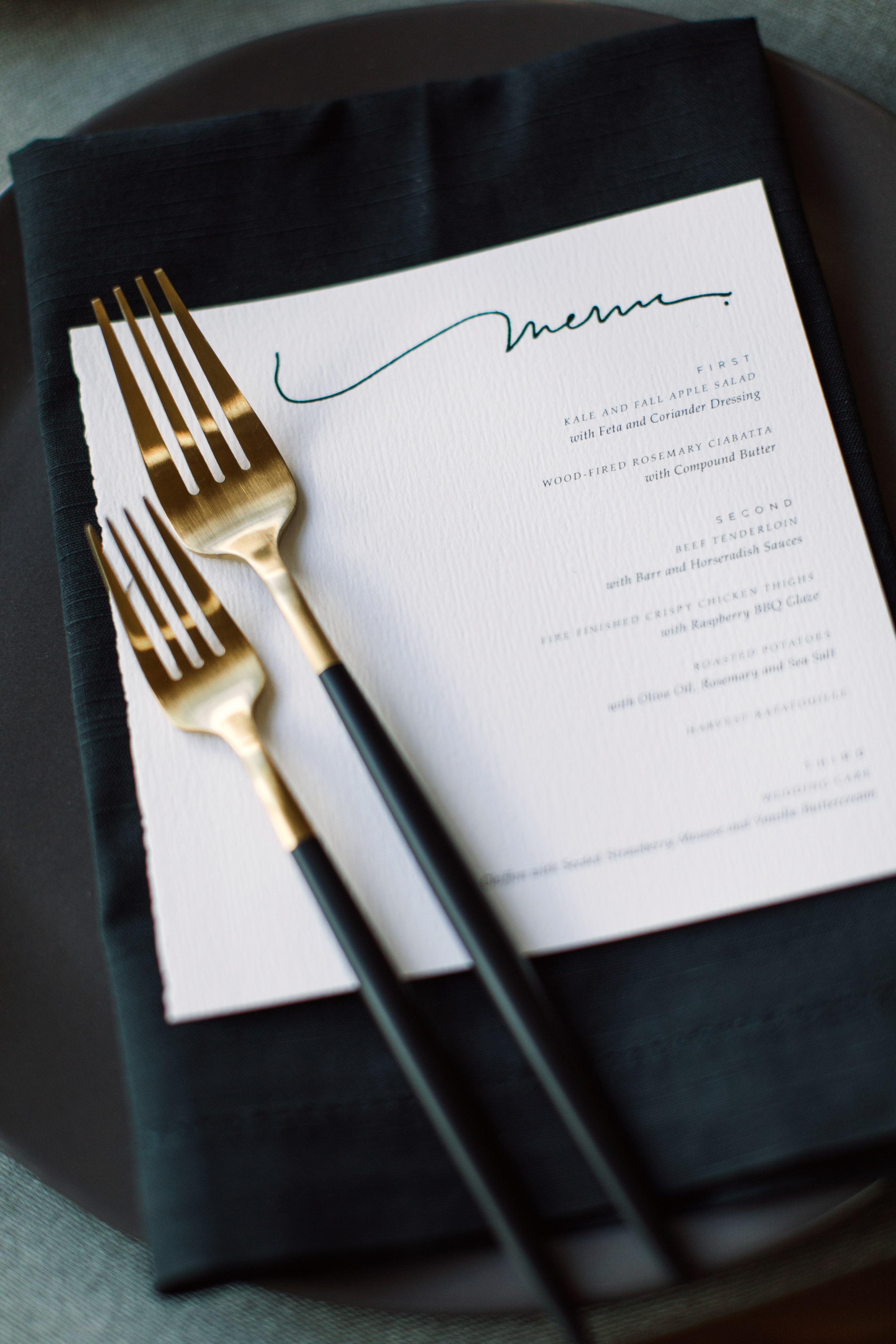 wedding menu gold flatware