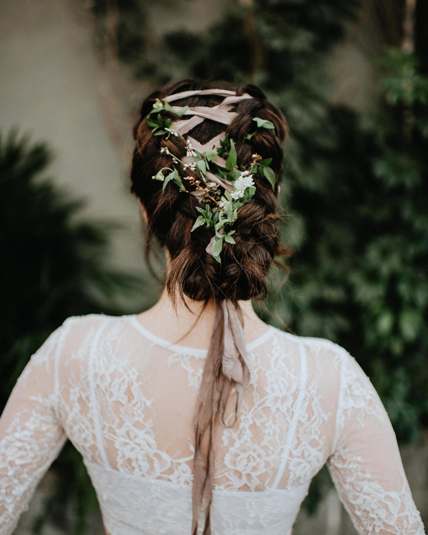 ribbon wedding ideas ribbon and flowers braided into brides hair