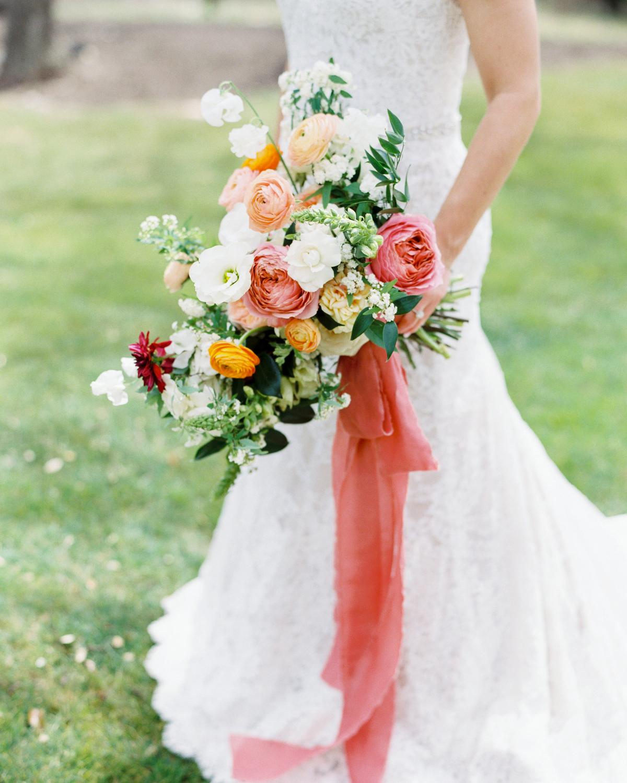ribbon wedding ideas coral ribbon adhered to bridal bouquet
