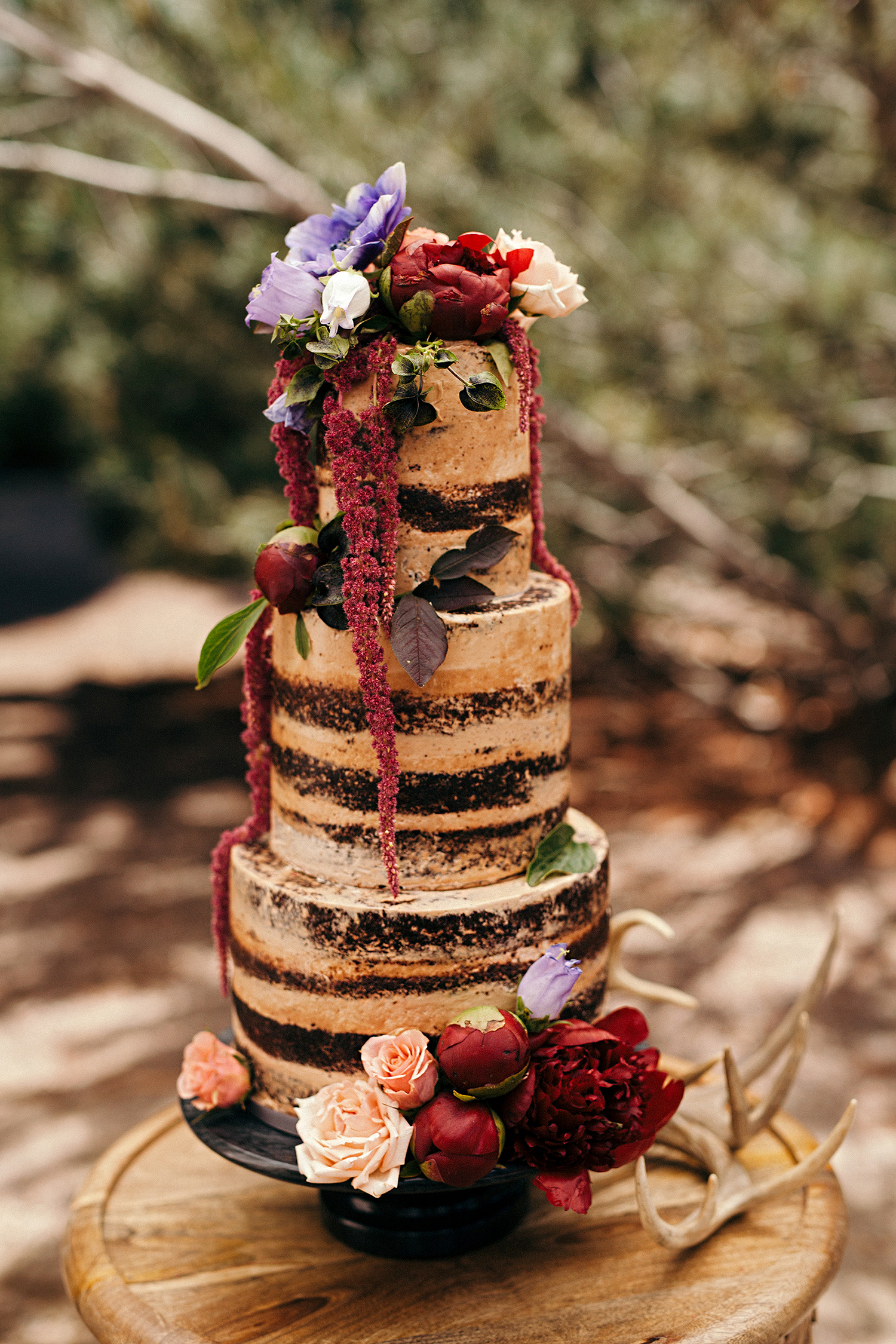 chocolate semi-naked cake with flowers