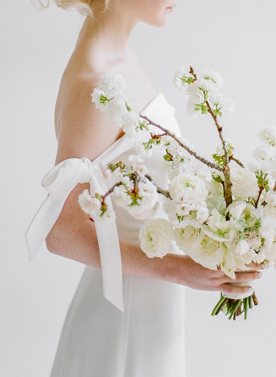 modern wedding bouquet branch of white flowers