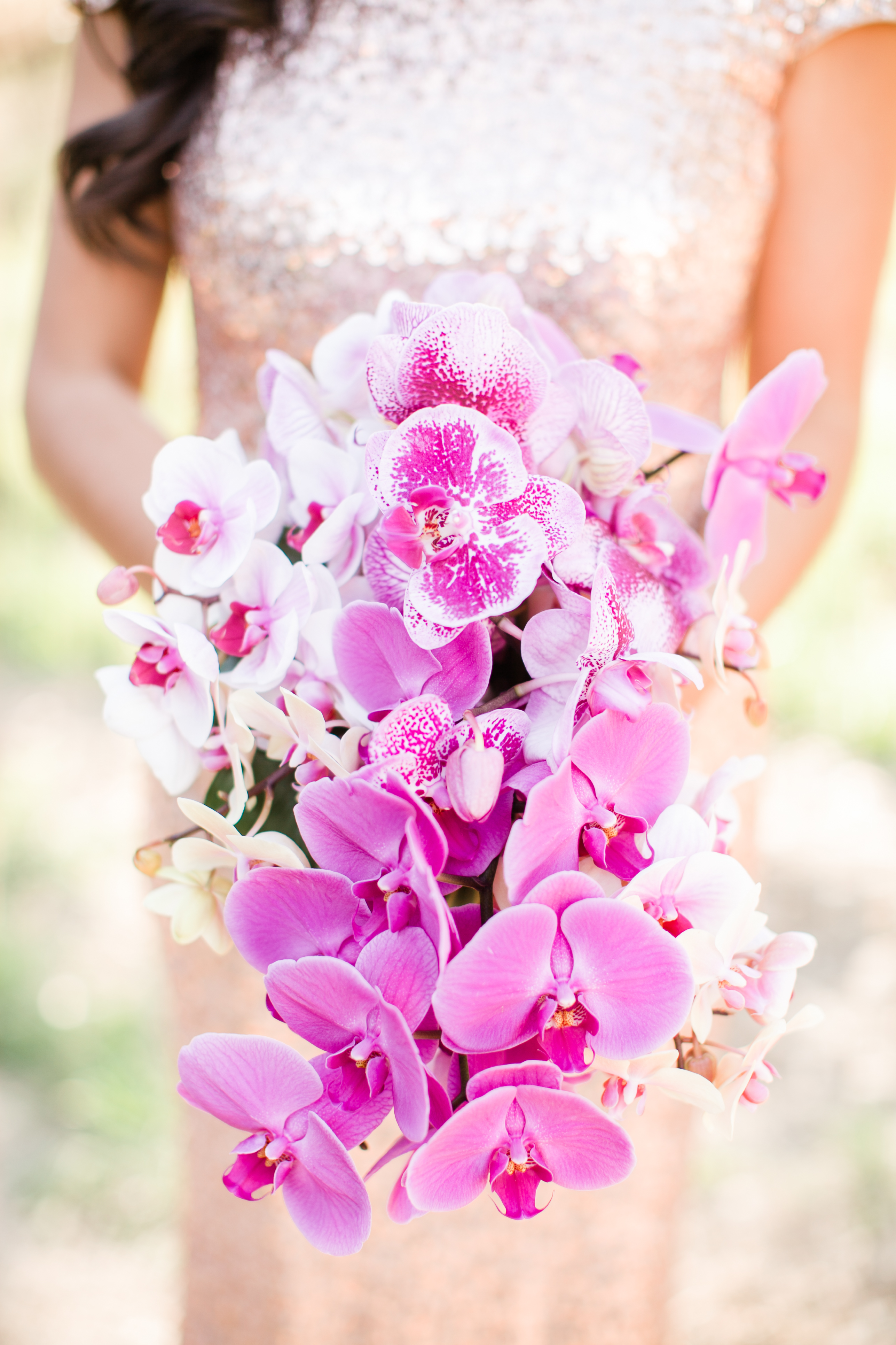 Bright purple orchid wedding bouquet