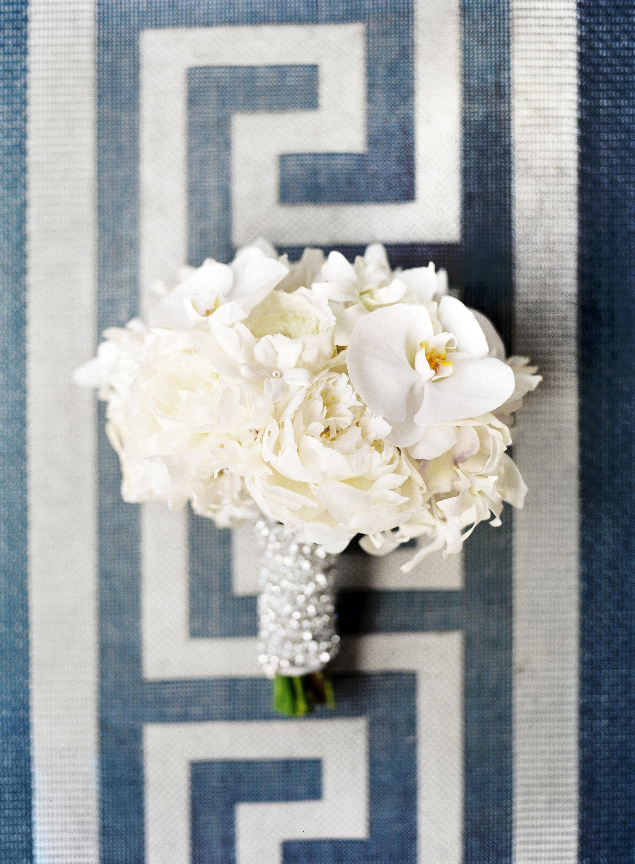 White orchid and peony wedding bouquet