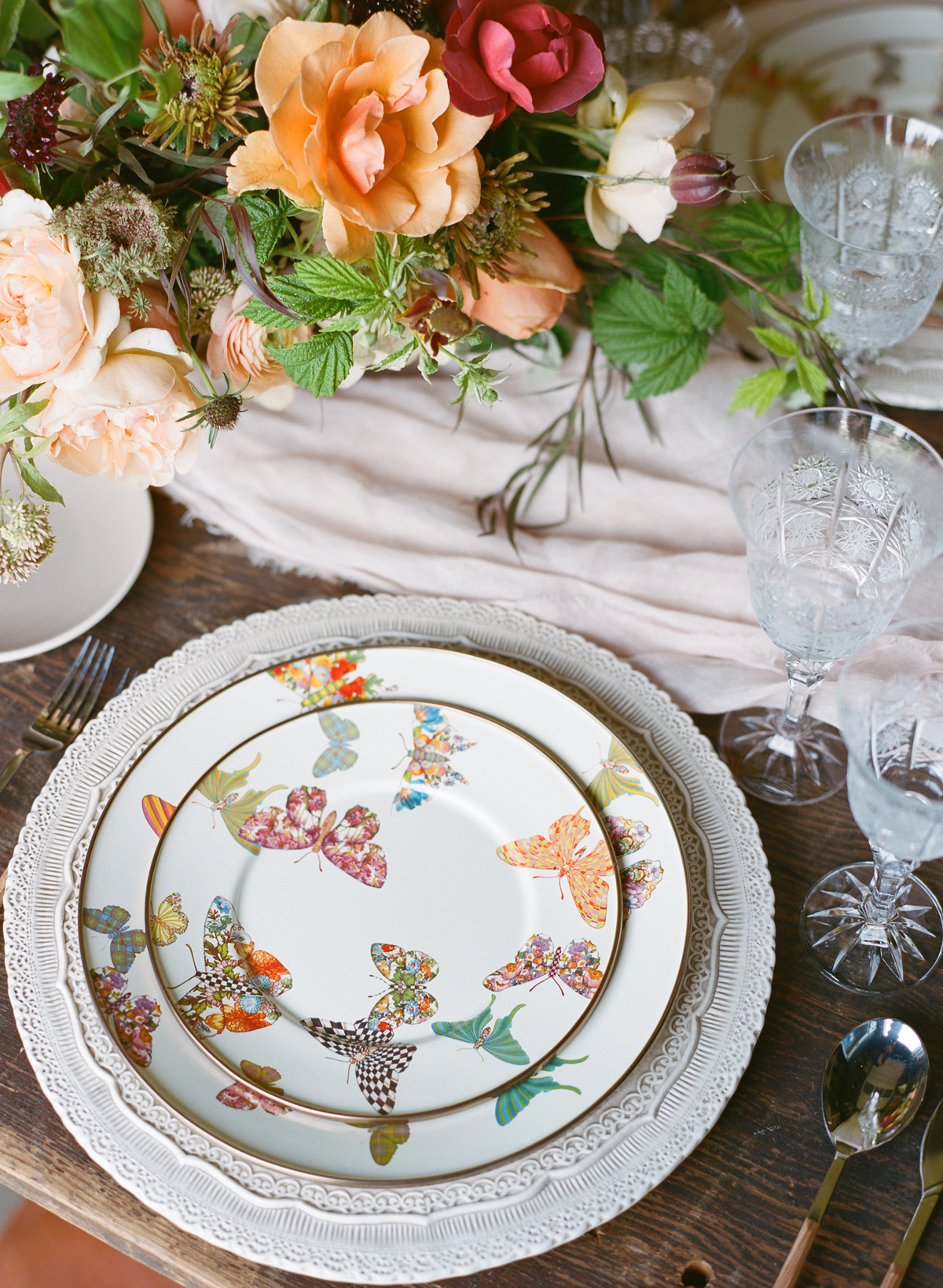 butterfly-printed dishware