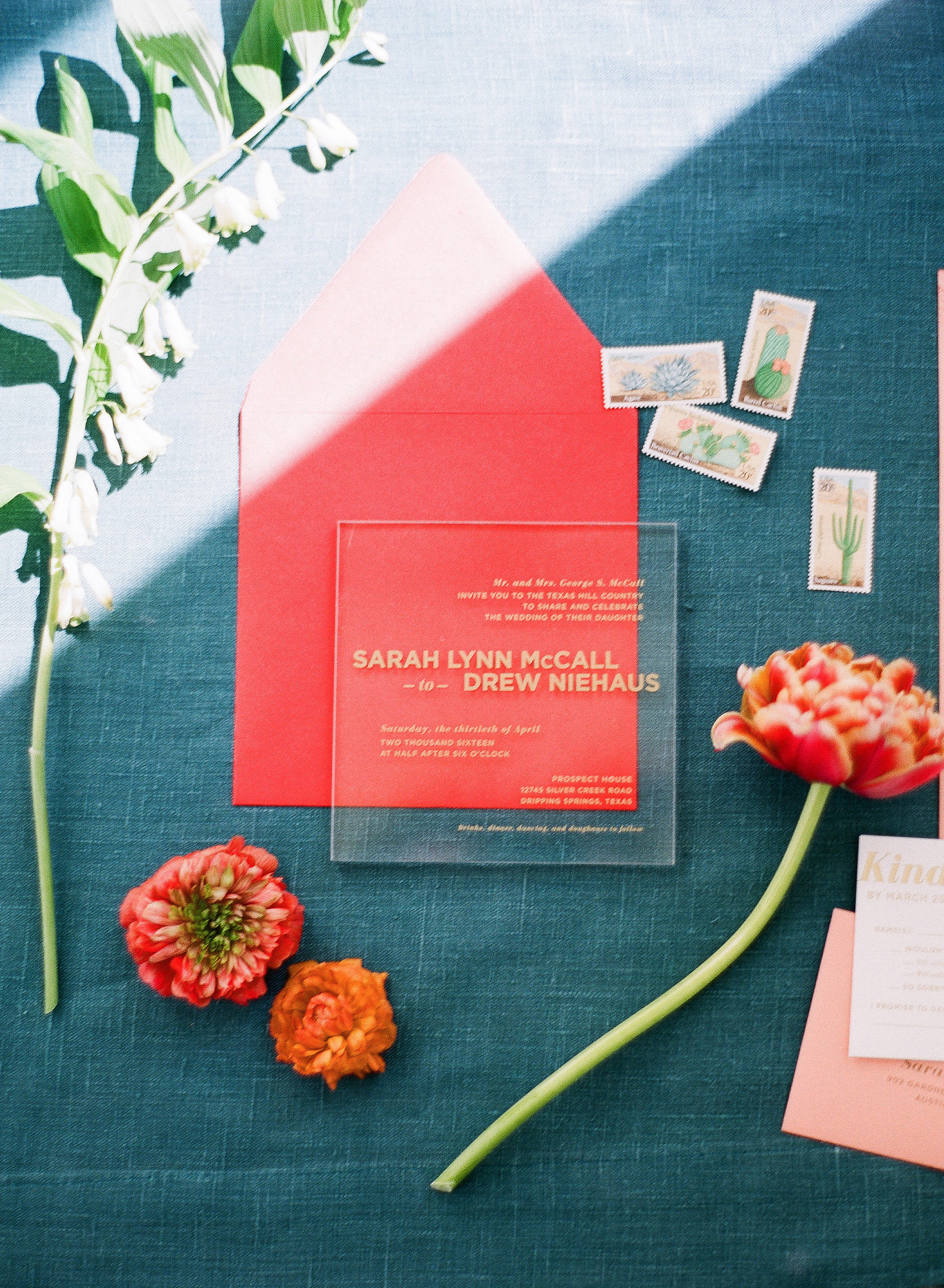 pink and blue modern invitation