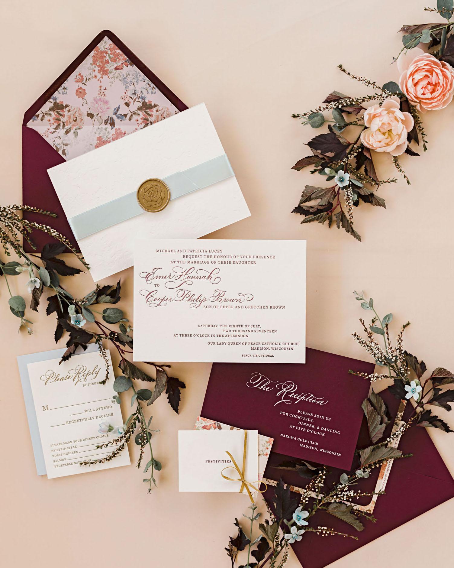 emer cooper wedding wisconsin invitation suite