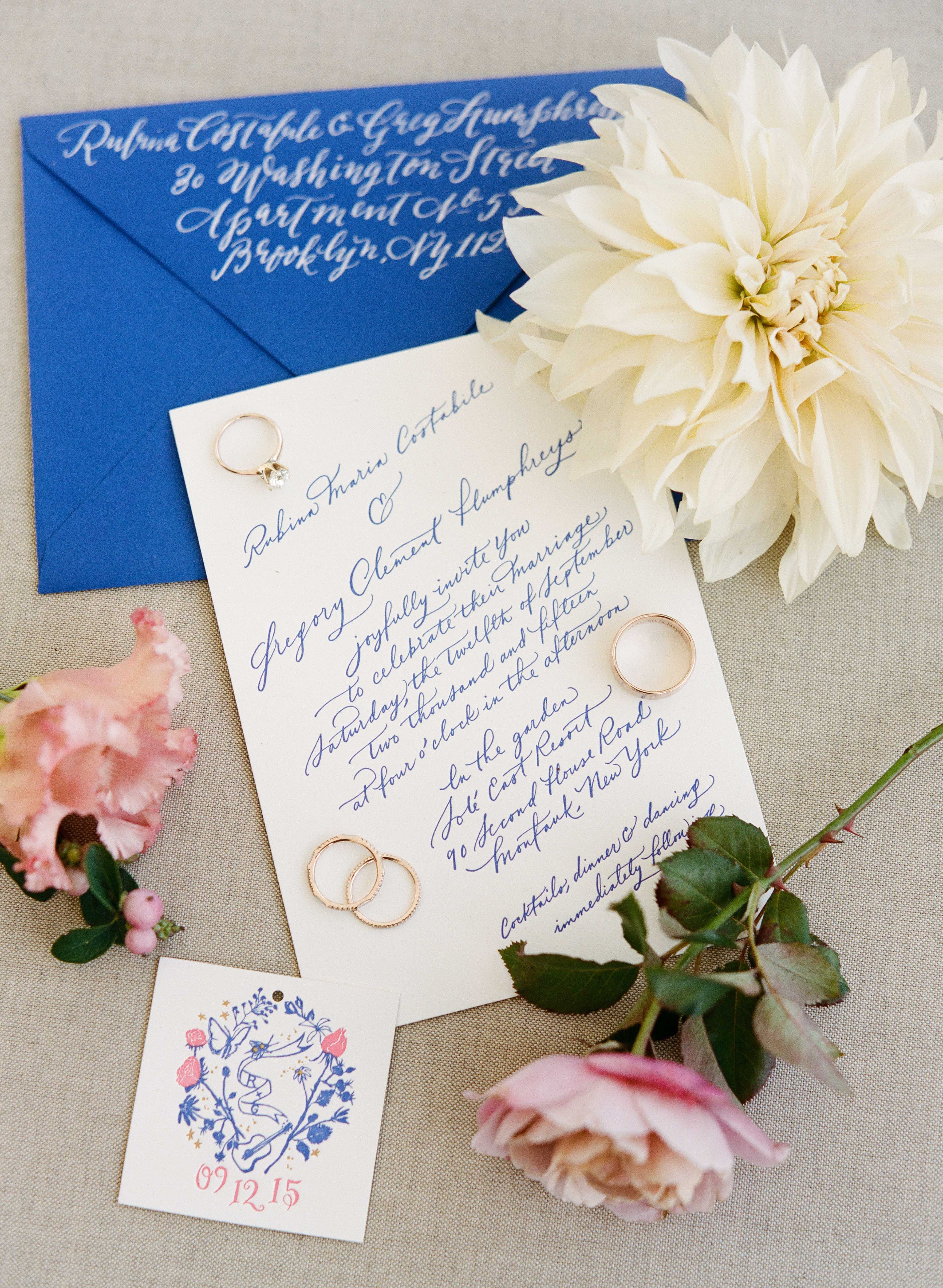 classic invitation calligraphed letter pressed set on an angle