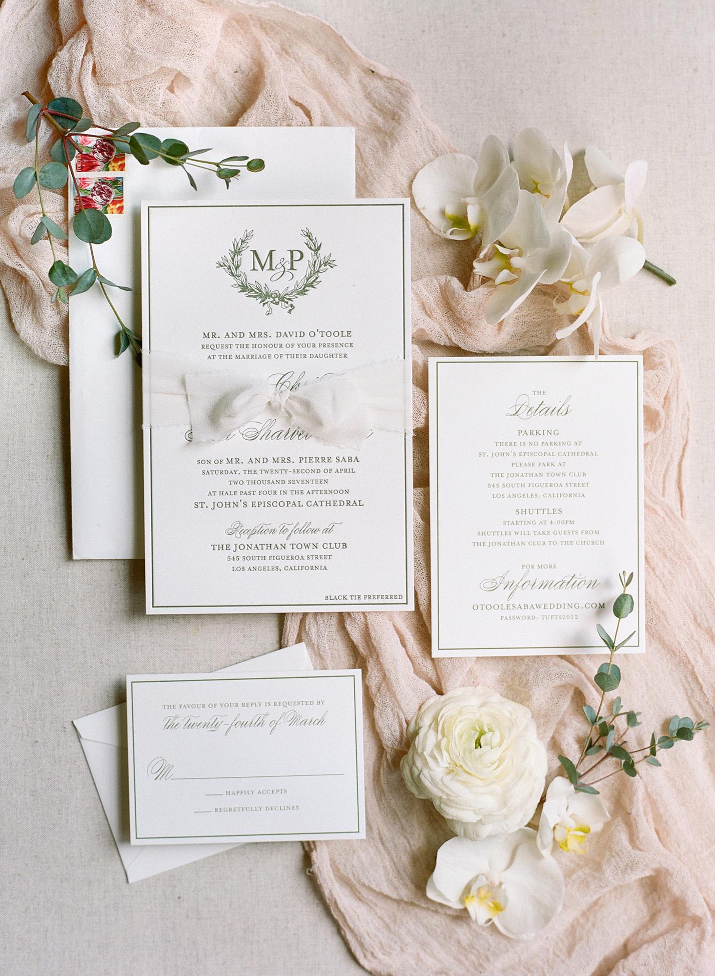 classic invitation evergreen ink letterpressed monogram suite