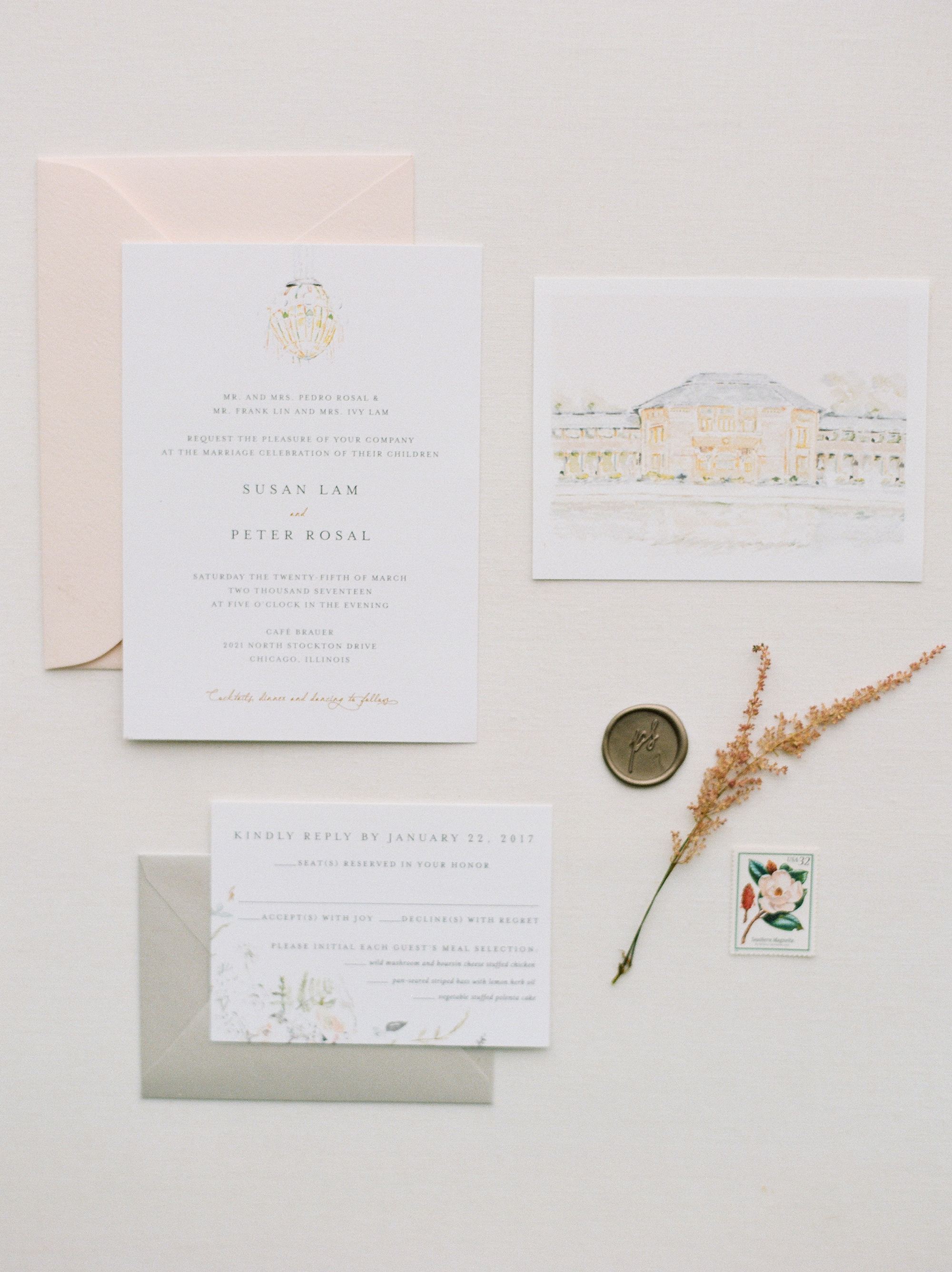 blush vintage invite with illustrations