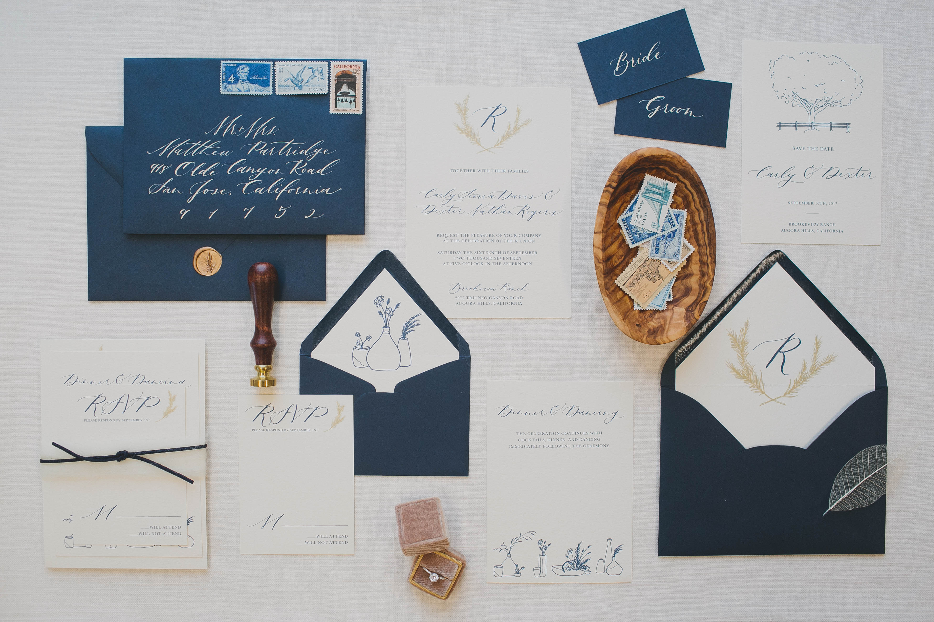 navy blue vintage invite with illustrations