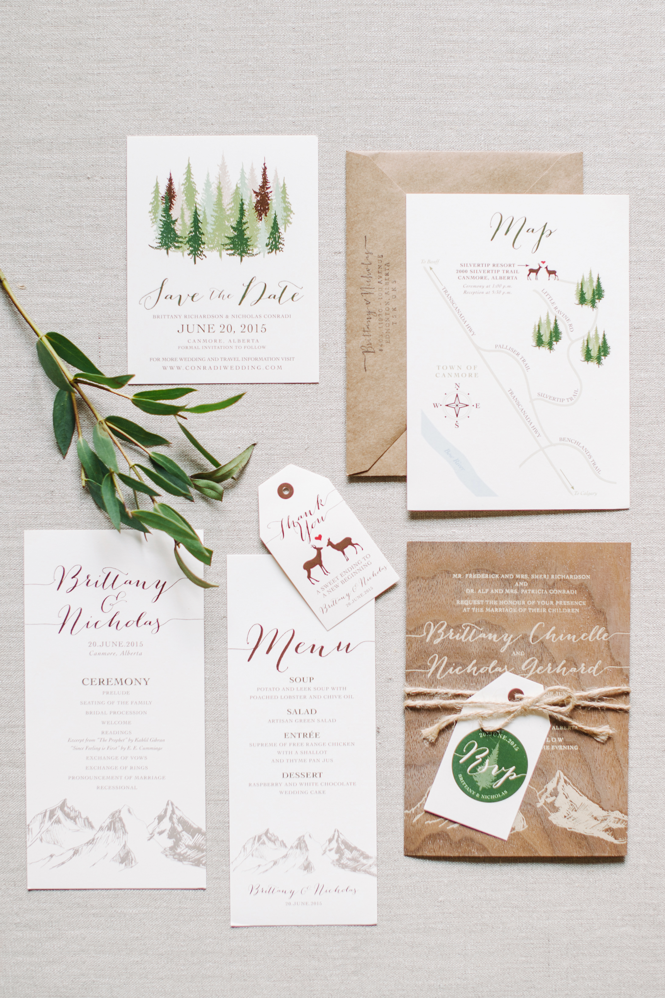 save the date with evergreen tree