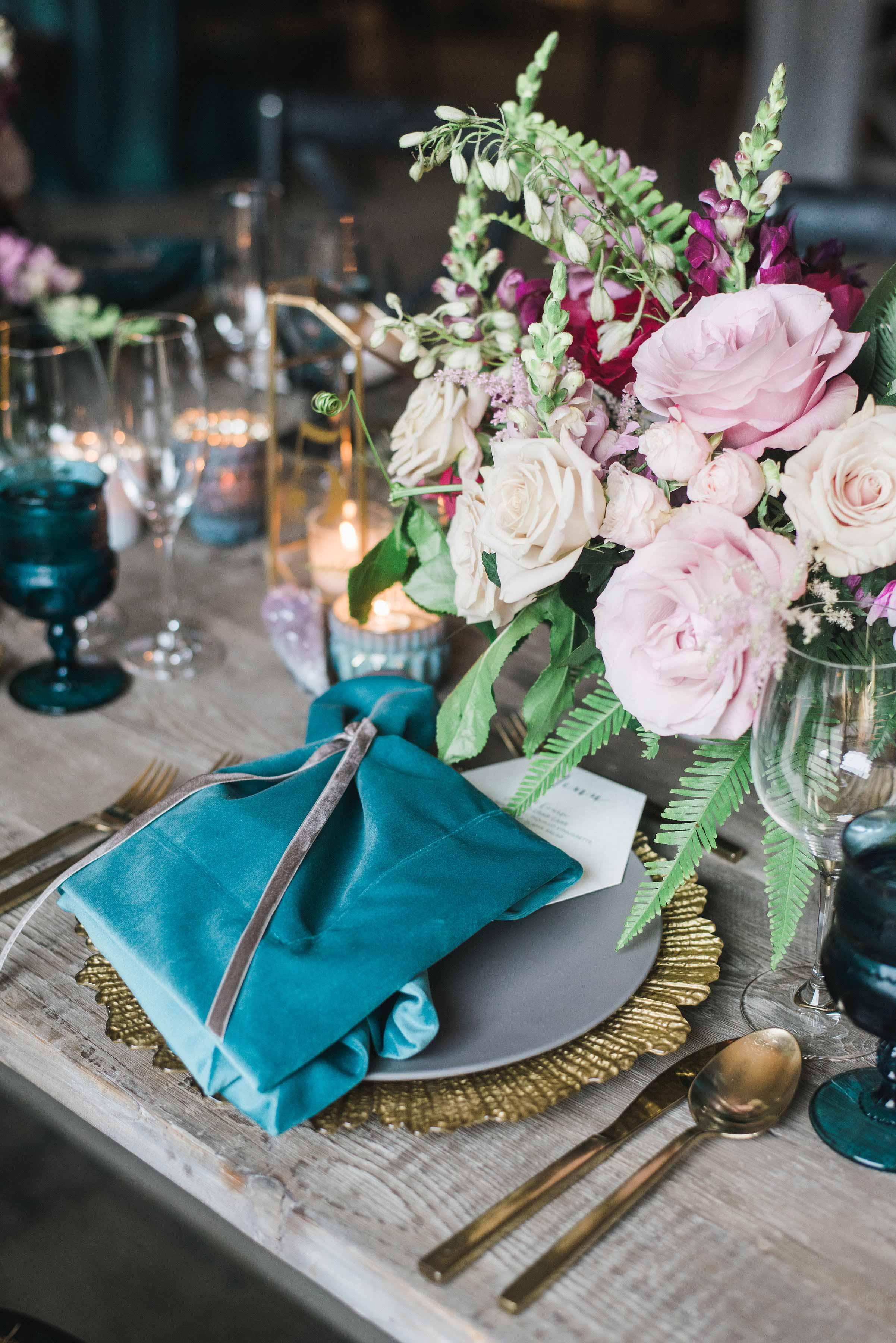 blue napkin place-setting