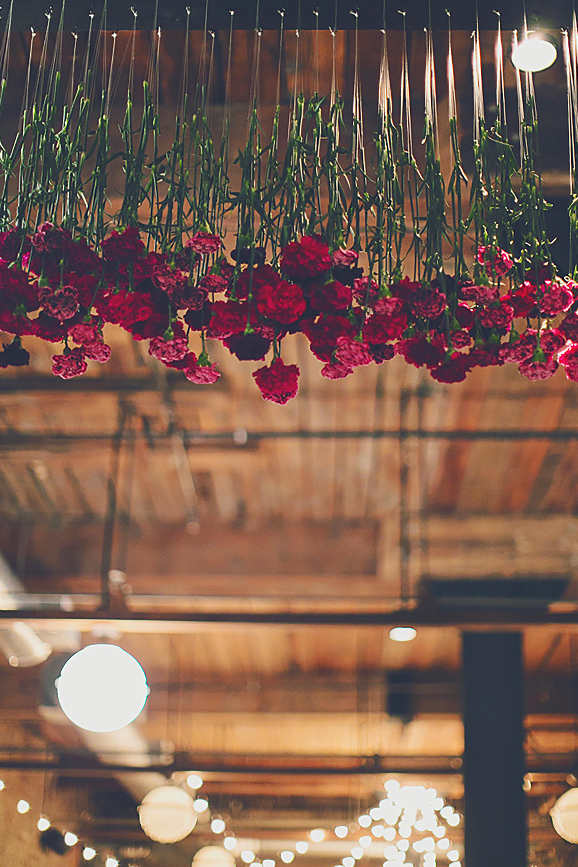 floral canopy wedding reception