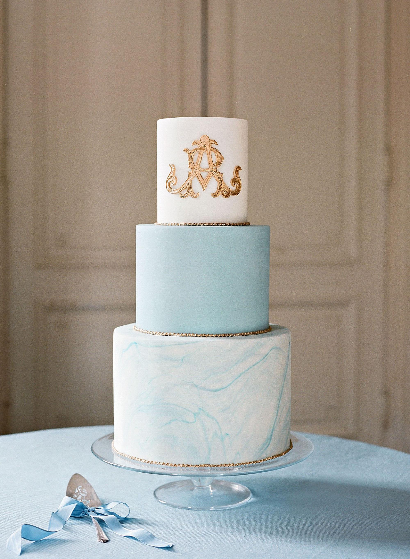 washington dc wedding blue gold cake