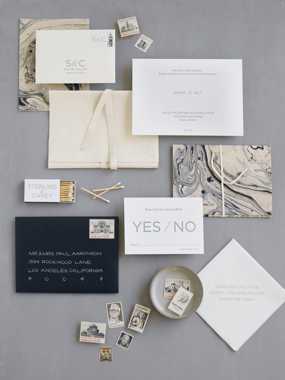 marbled modern invitation by bliss and bone