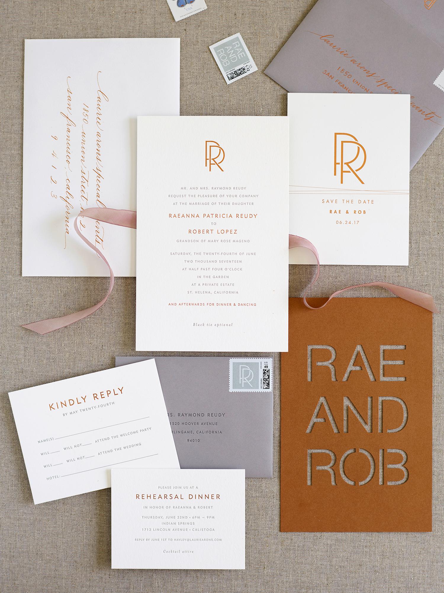 rae rob wedding casual stationery