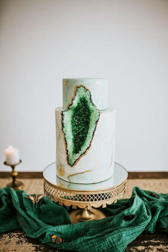 green wedding ideas just like honey geode cake