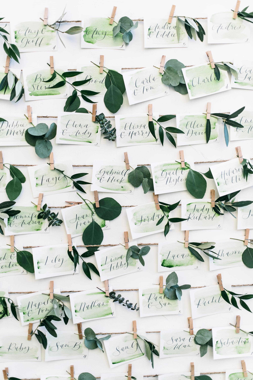 green wedding ideas lisa poggi escort cards