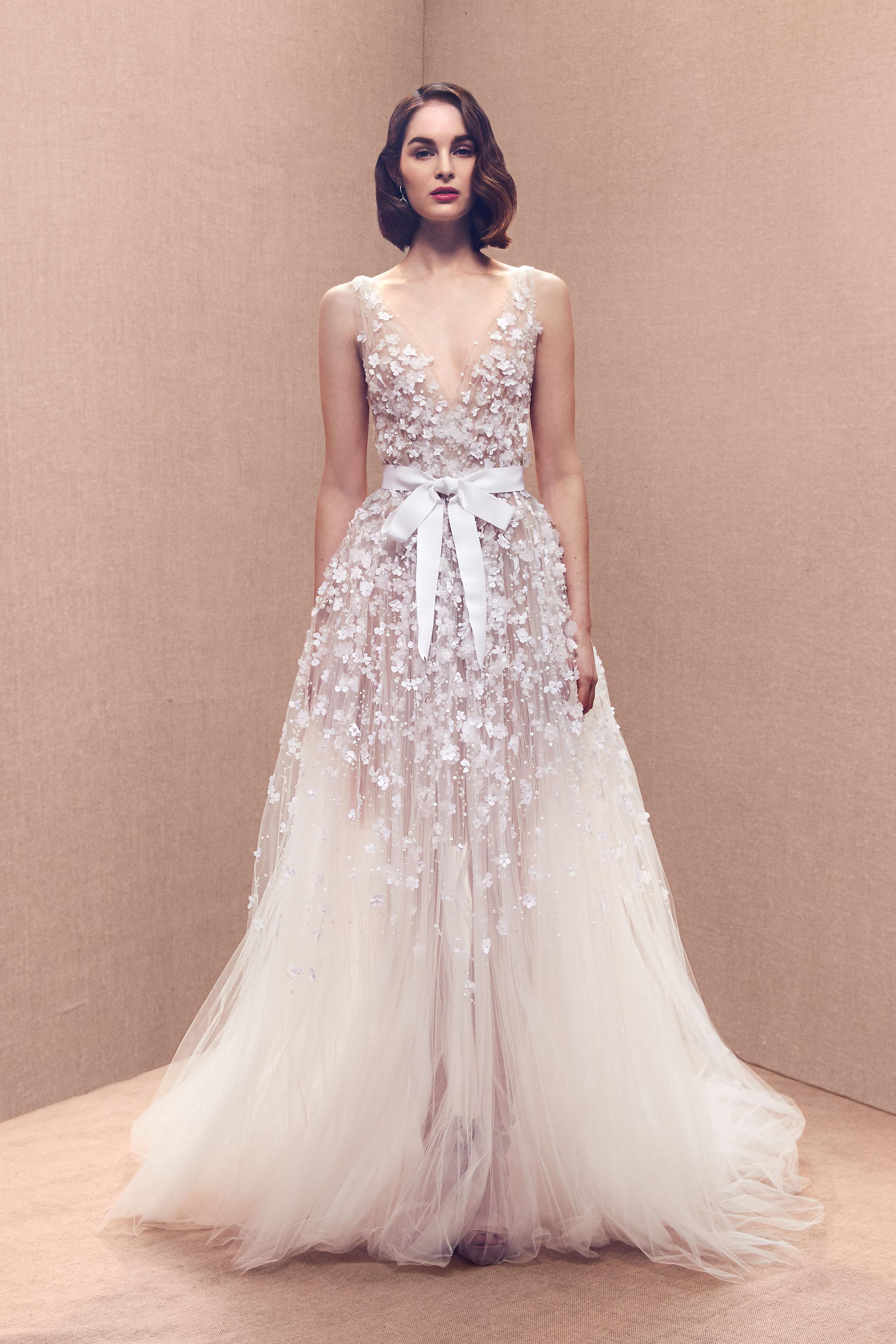thick spaghetti strap floral applique plunging v-neck bow belt tulle a-line wedding dress Oscar de la Renta Spring 2020