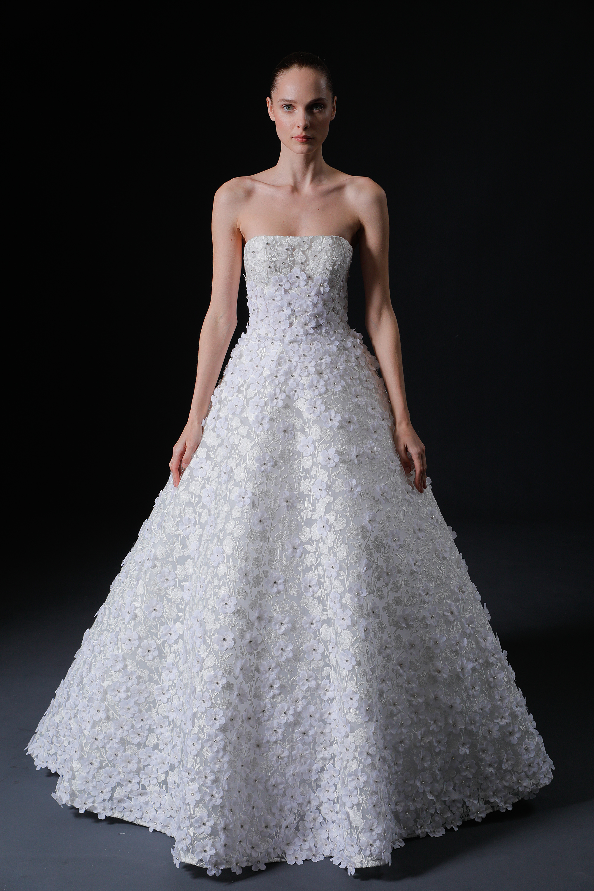 strapless straight across floral applique a-line wedding dress Isabelle Armstrong Spring 2020