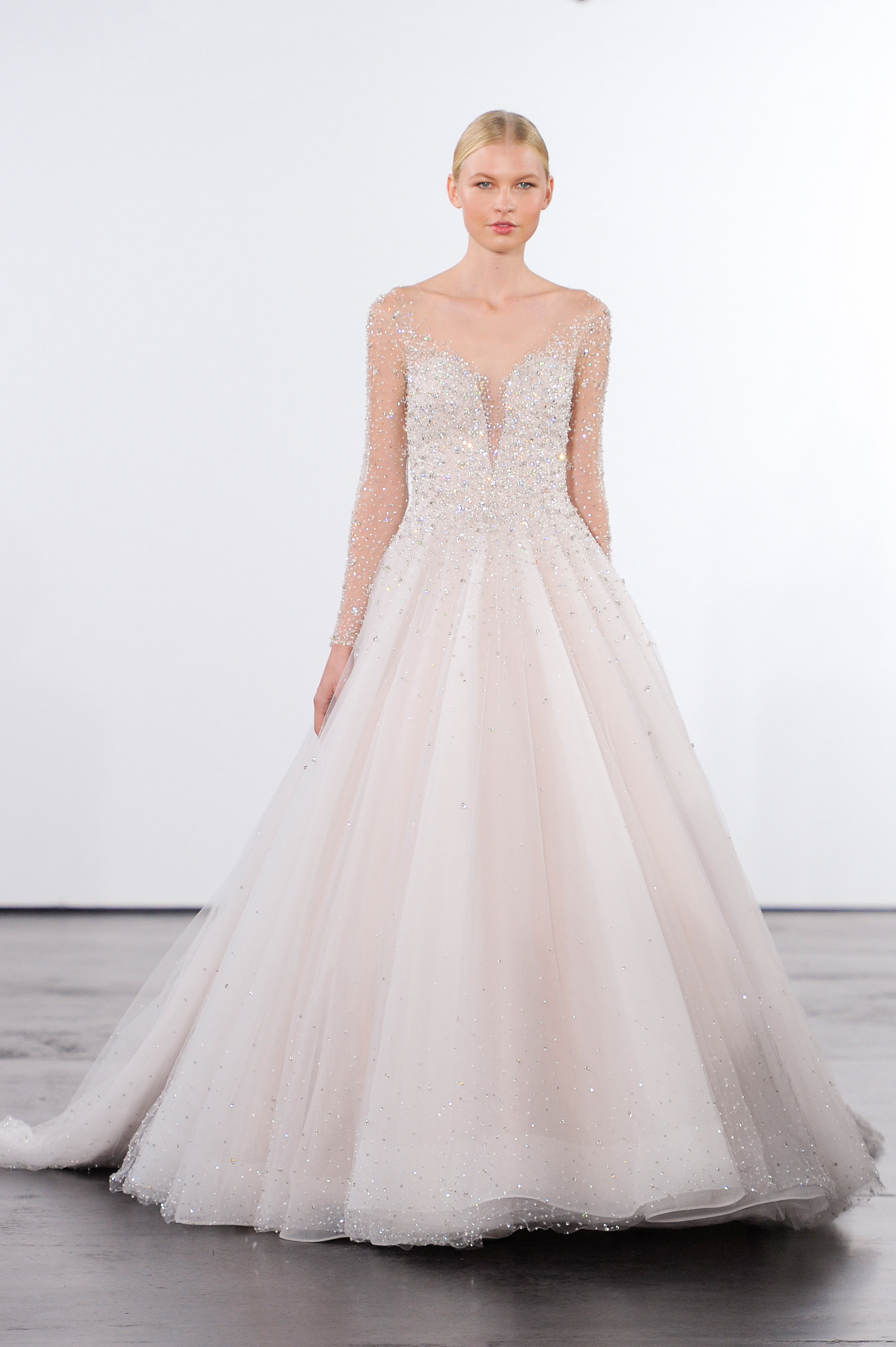 dennis basso blush long-sleeves with rein stones wedding dress fall 2018