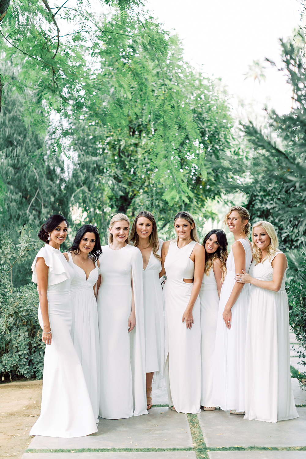 26 Chic Bridal Parties Wearing All White Dresses Martha