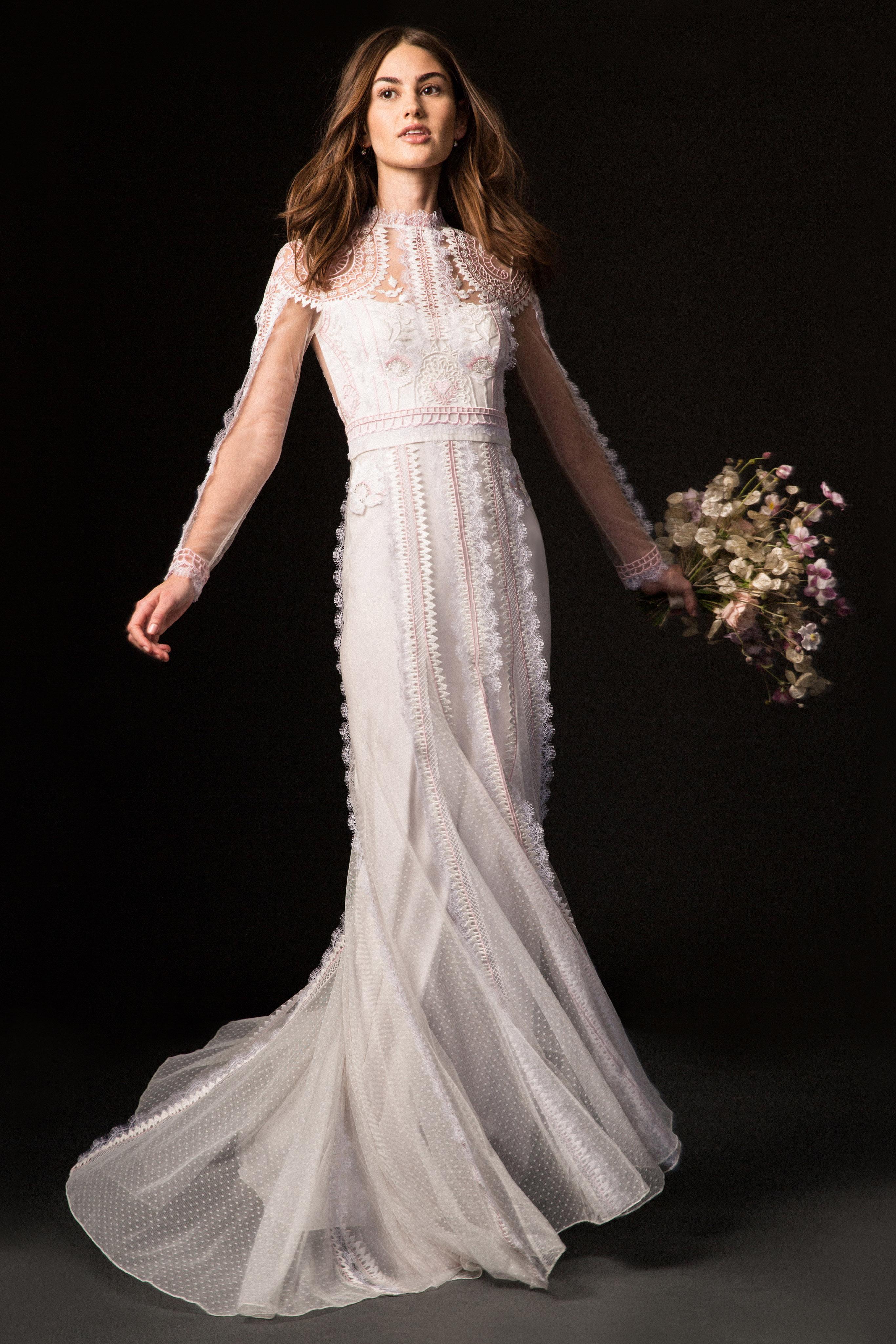 temperley fall 2019 high neck corset trumpet wedding dress