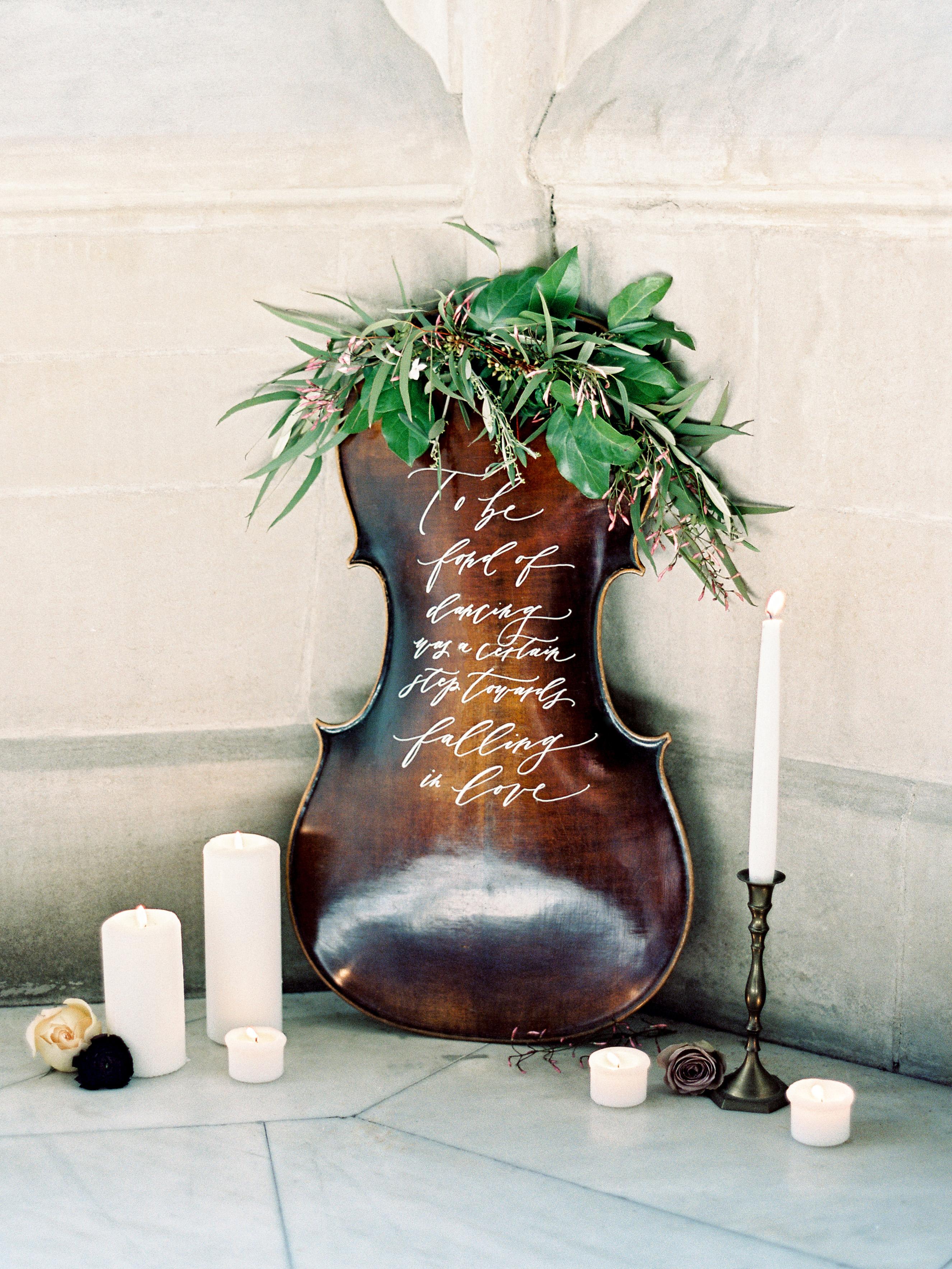 Deconstructed Cello Wedding Decor