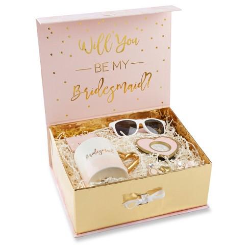 be my bridesmaid pink and gold gift box