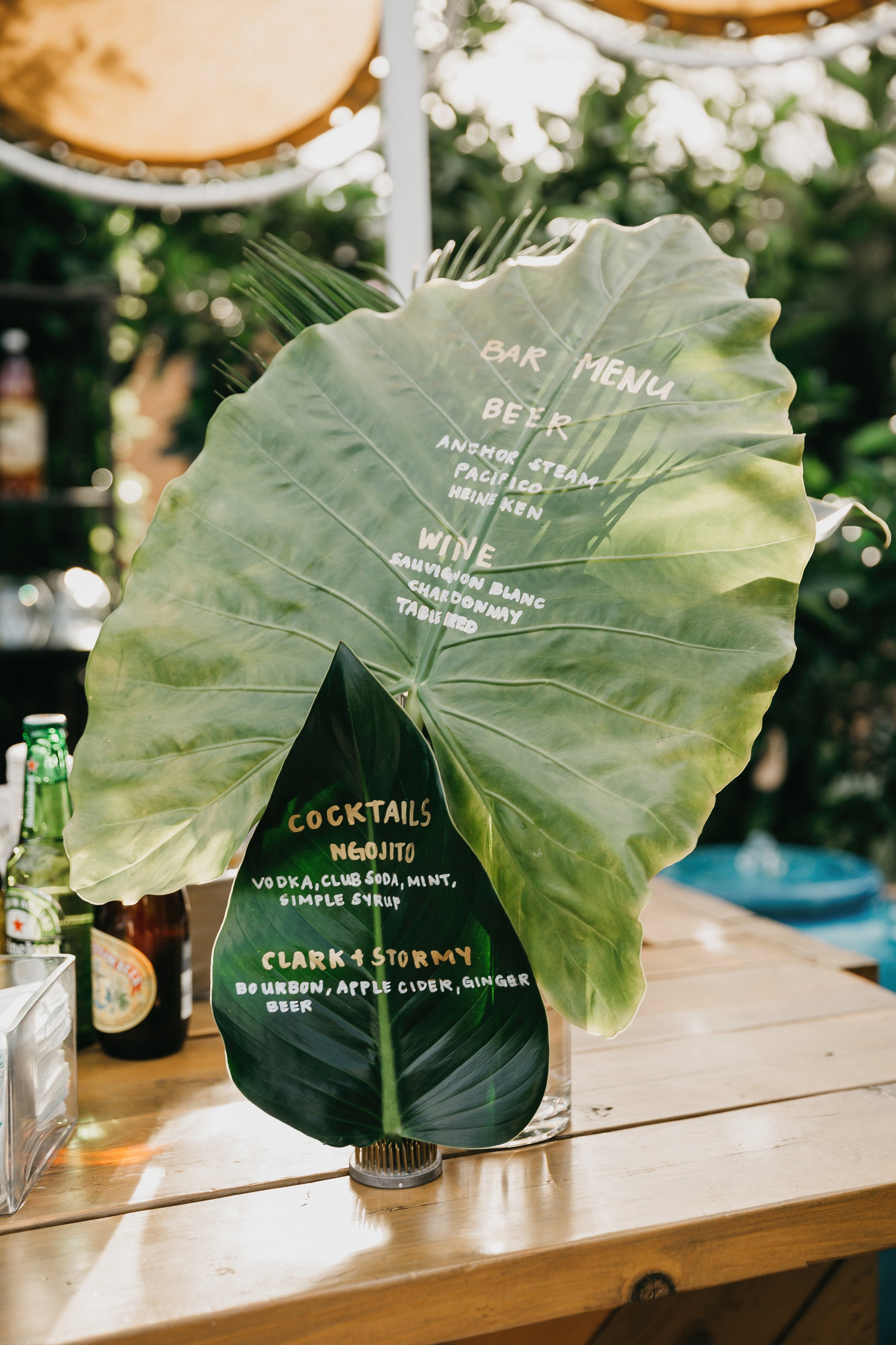 colleen pip wedding bar signage leaves