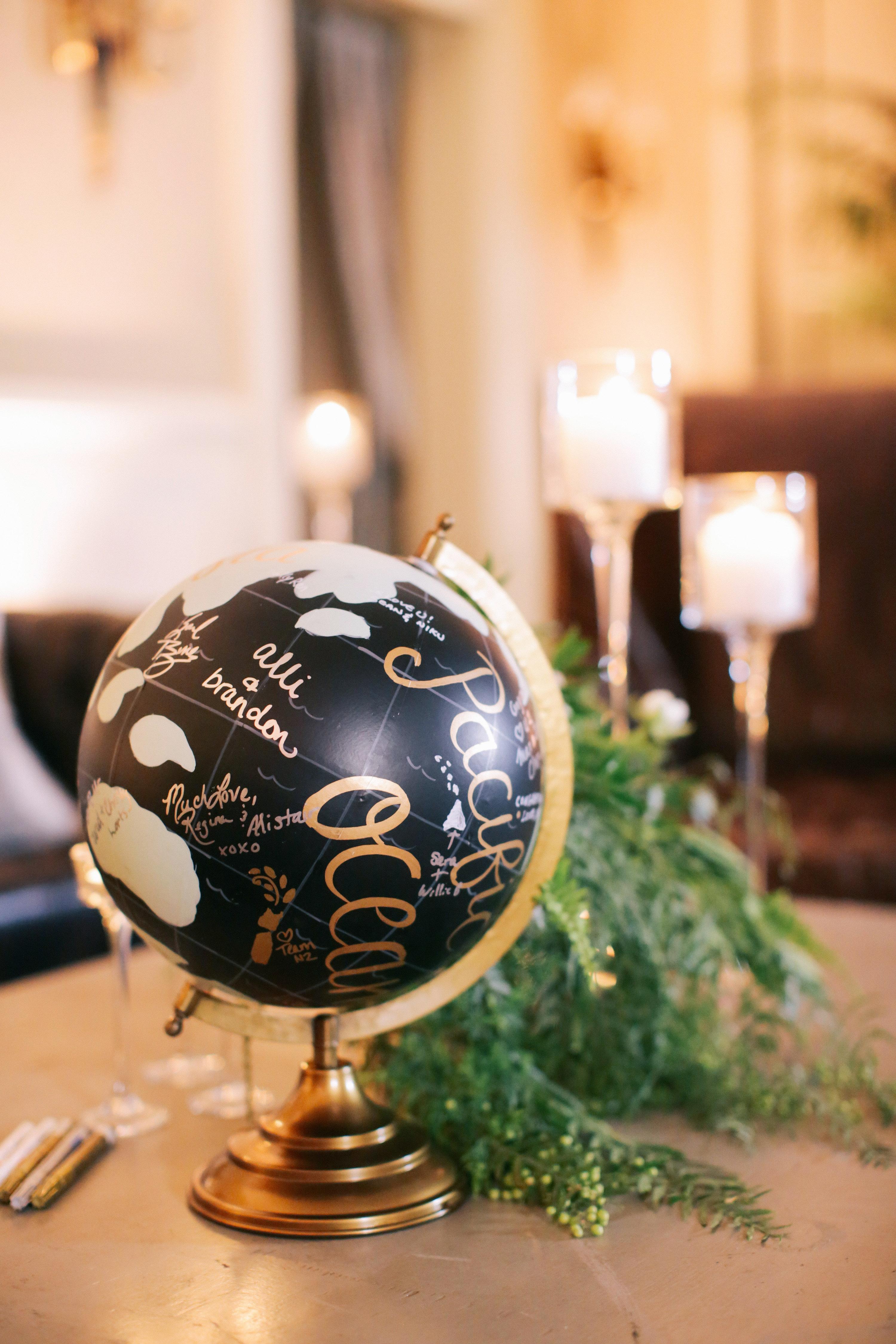 guest book globe gold black signatures