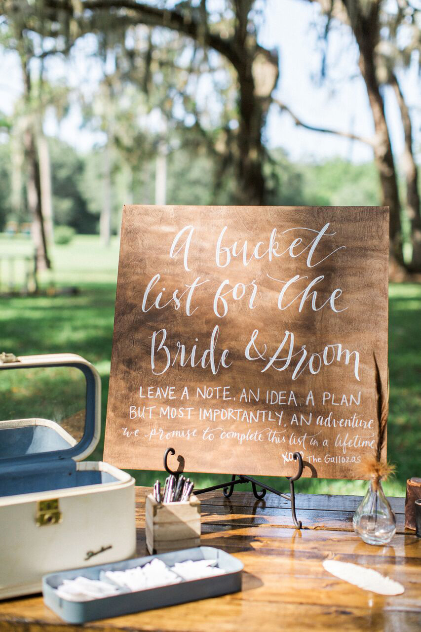 guest book bucket list table sign