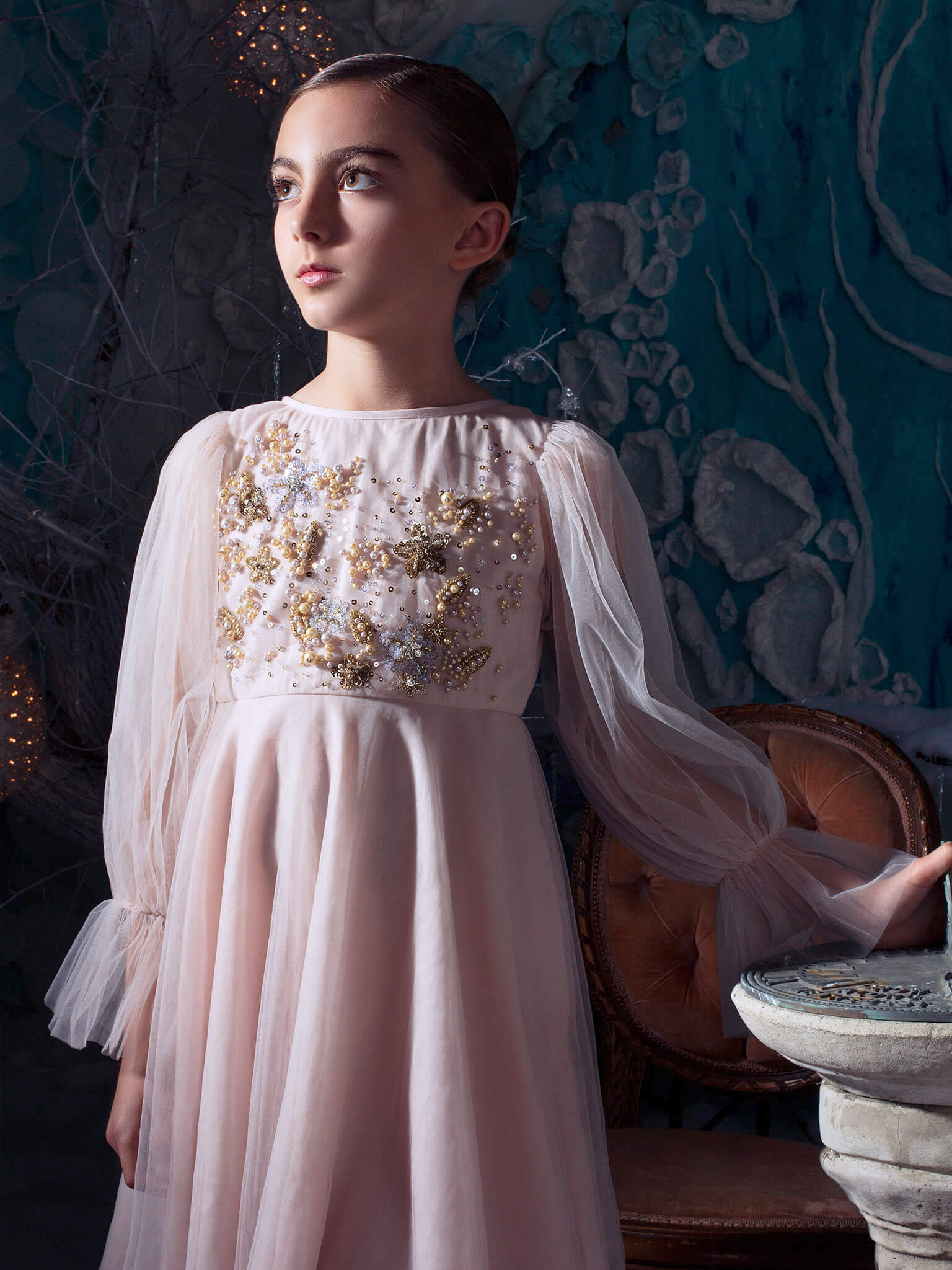 winter flower girl pink long tule sleeves dress with beading