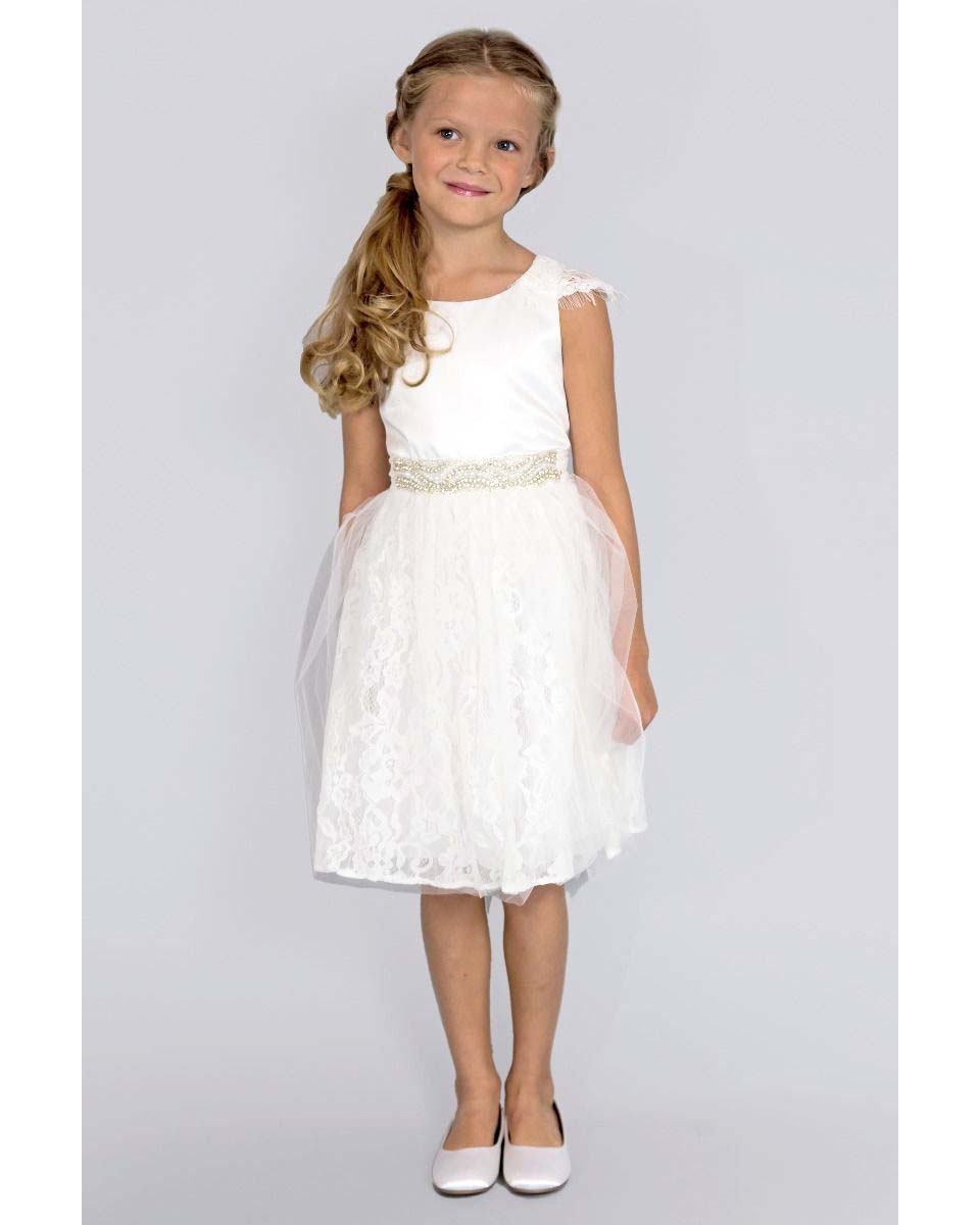 winter flower girl white dress with lace cap sleeves and beaded waist
