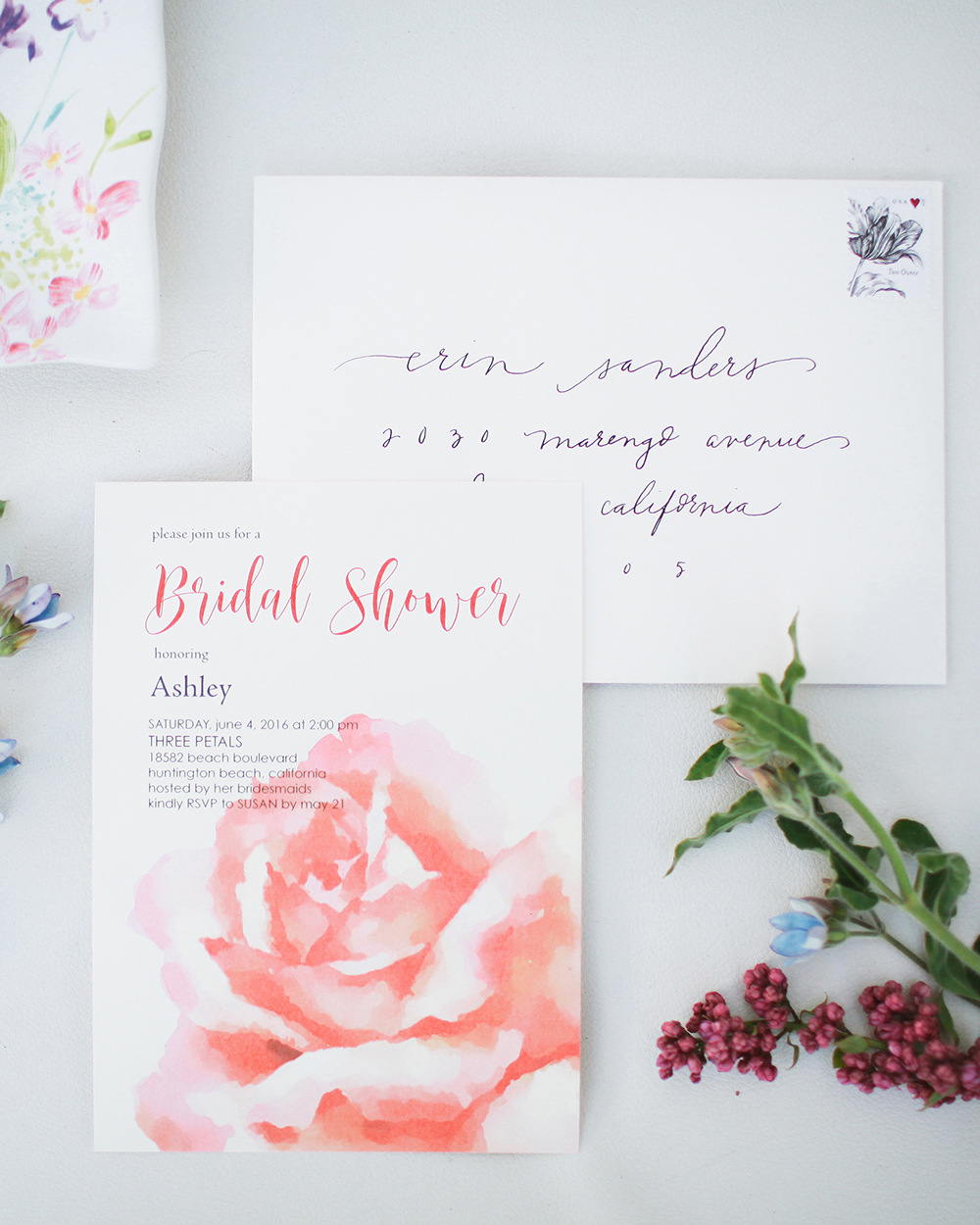 pink bridal shower invitation rose