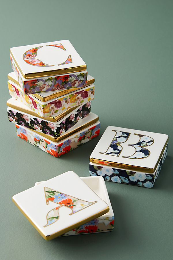 ring boxes multi-colored monogram
