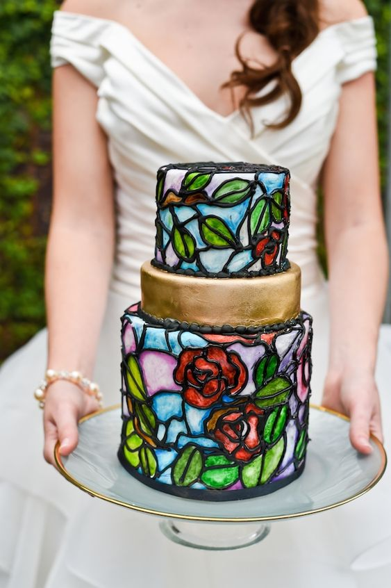 Beauty and the Beast inspired Stained-Glass Cake