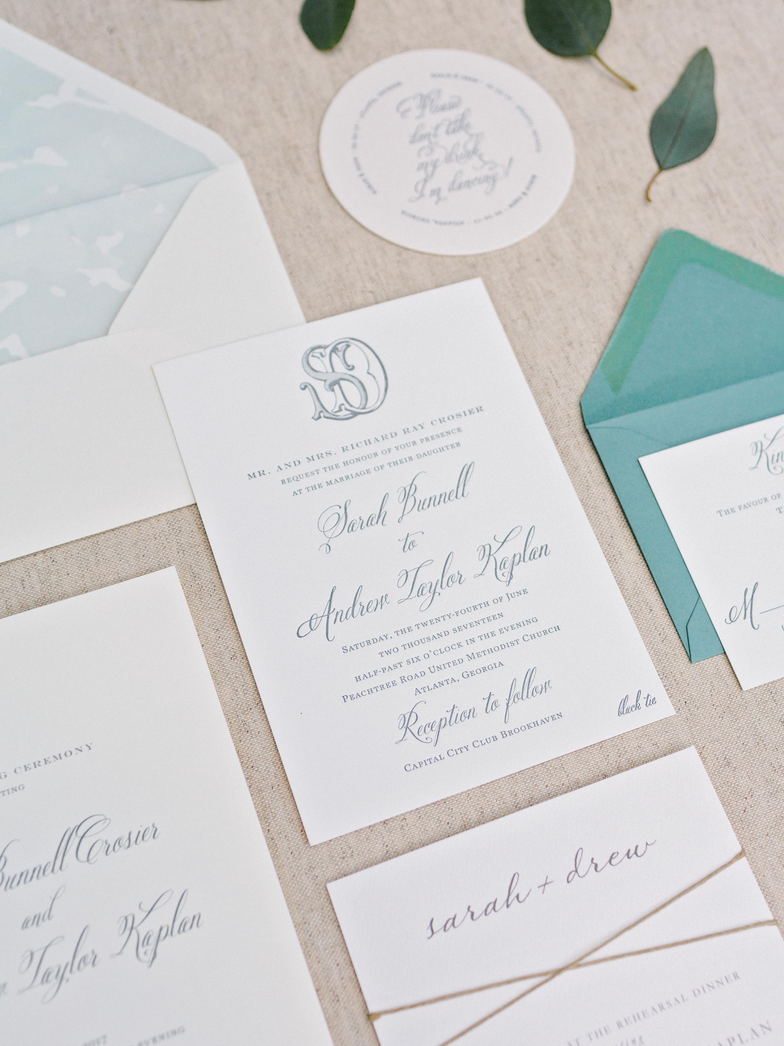blue-and-white wedding invitation