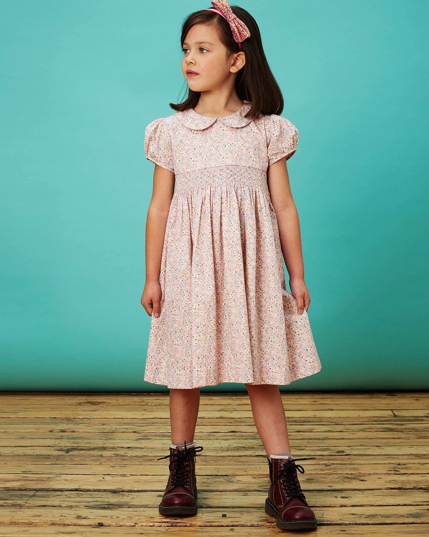 summer flower girl outfit cap sleeved patterned dress