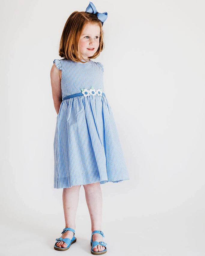 summer flower girl outfit blue seersucker dress