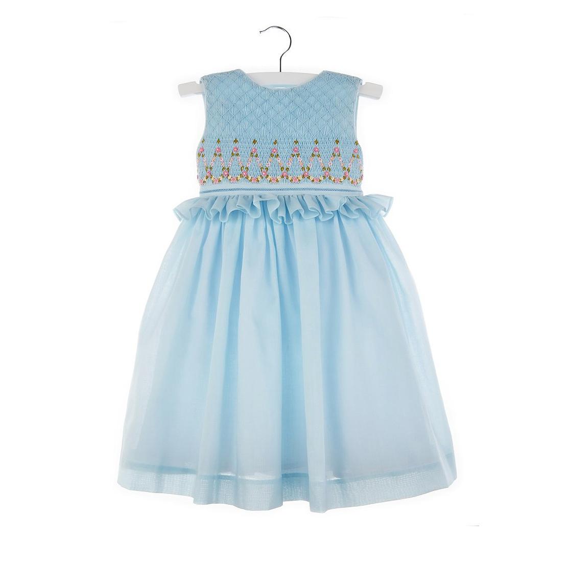 summer flower girl outfit blue frilly dress