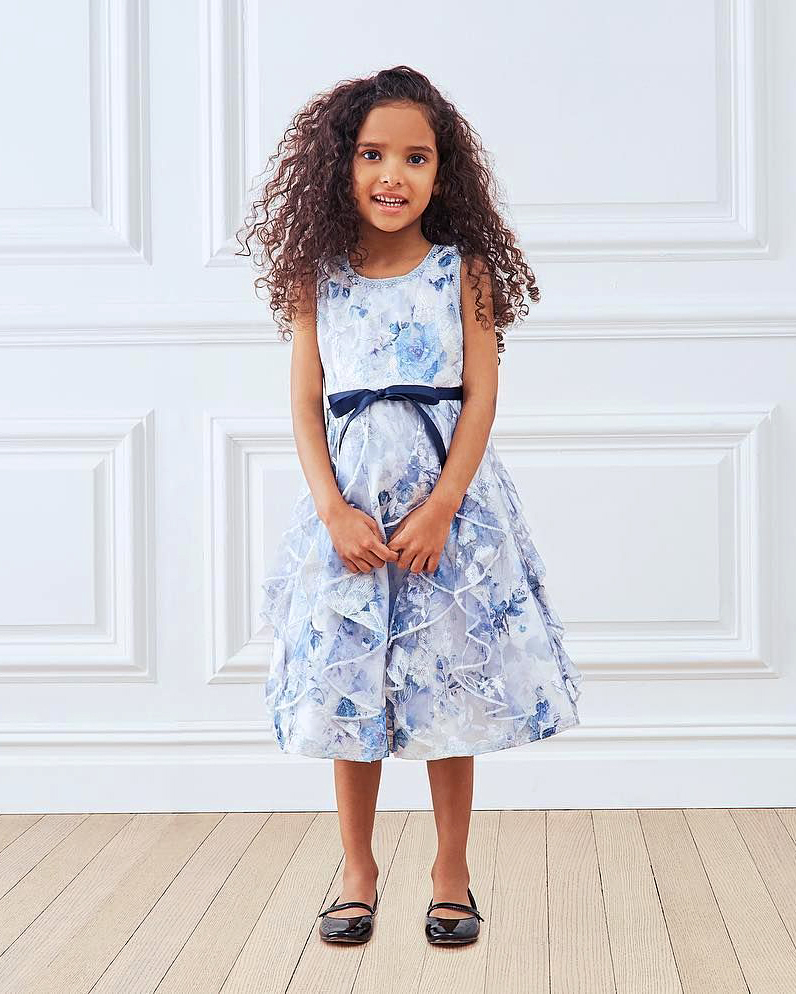 summer flower girl outfit blue patterned dress with bow