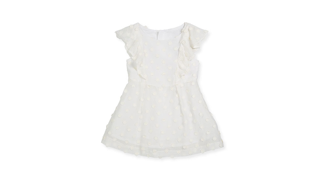 summer flower girl dress white yellow polka dots