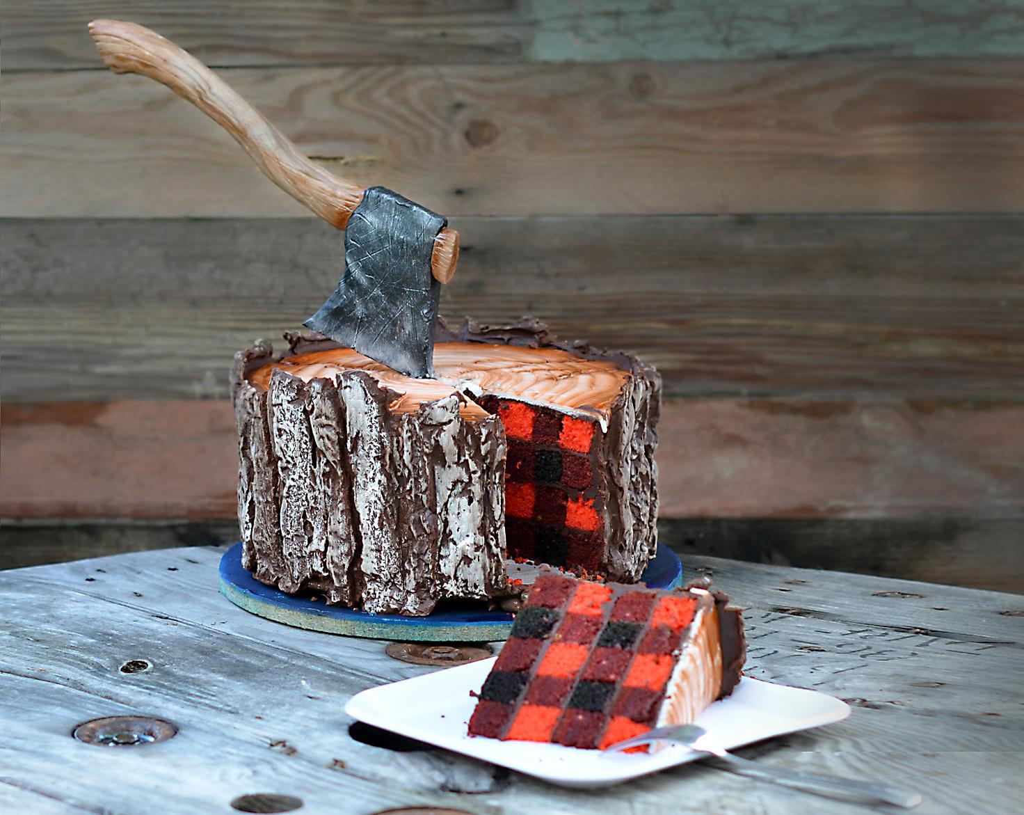 buffalo check axe log cake